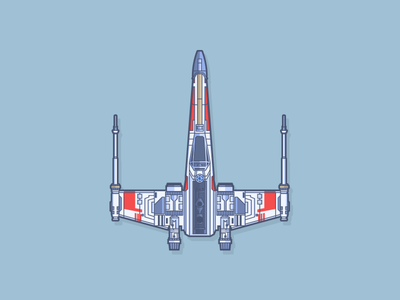 X-wing starfighter luke skywalker vehicle illustration vector star wars