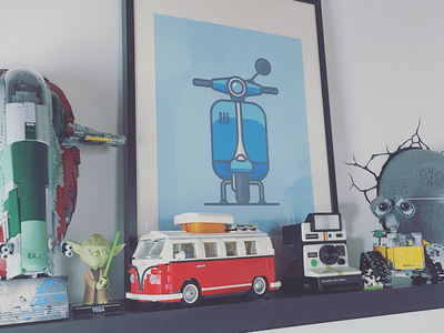 [work space] new shelf polaroid deathstar walle lego icon vespa illustration