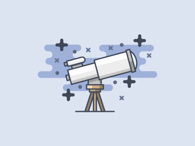 Telescope planet space stars vector design illustration icon