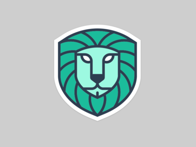 Lion Shield brand animal green design illustration logo