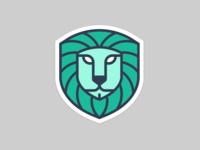Lion Shield brand animal green design illustration logo