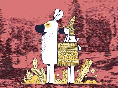 Dogu Llama collage dogu dog illustration dog polish drawing illustration