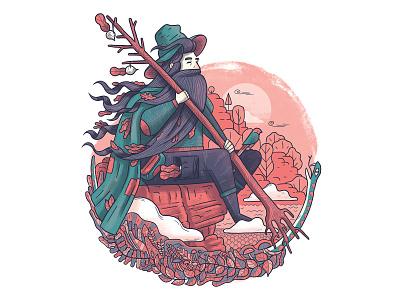 Liczyrzepa folklore folk travel snake pink wanderlust mountains traveling drawing flat illustration