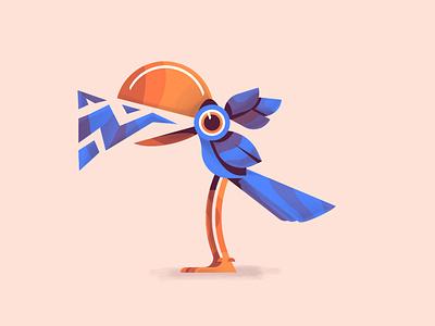 Quack orange character flat illustration blue tucan bird illustration bird animal flat vector illustration