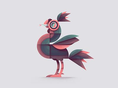 Ko-Ki-Oh geometric art geometric hybrid snake rooster bird bird illustration animal drawing vector flat illustration