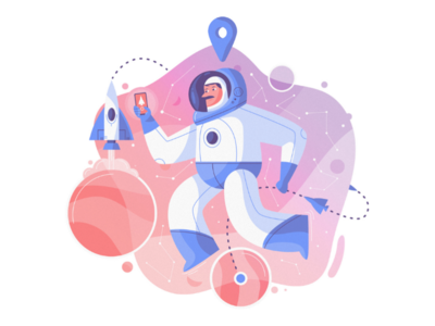 Space Uber mobile travel universe clean graphic design character drawing draw illustraion vector planets flat ridesharing rocket astronaut taxi uber space