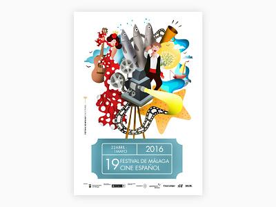 Málaga poster malaga spain design illustration