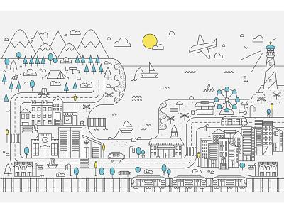 Line City Illustration city line art vector illustration