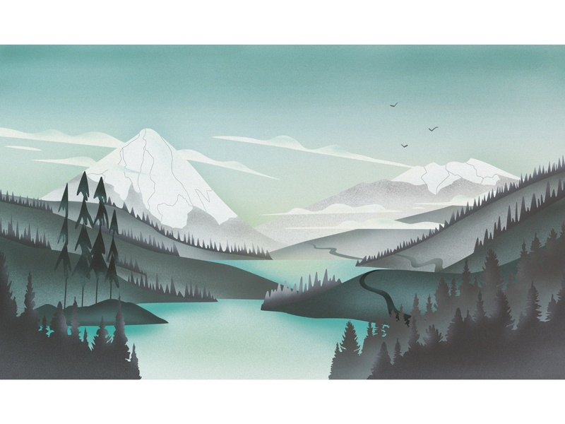 Volcanoes in Chile chile nature mountains volcano illustration