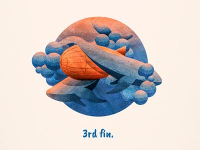 """3rd fin"" 3rd wheel textured sea creatures sea whale blimp zeppelin vector illustration"