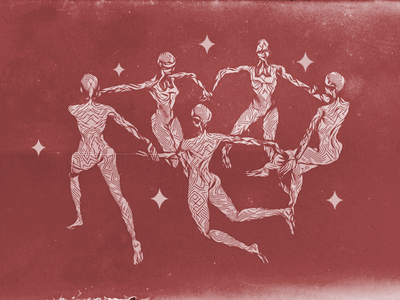 Dance textured grungy stars star matisse dancing dancer dance tribal illustration