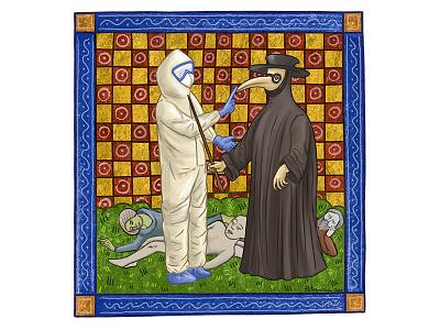 Сhronicle of Сoronavirus. Biohazard coronavirus graphic drawing portrait vintage fresco illustration art plague doctor chemical protection epidemic pandemic biohazard