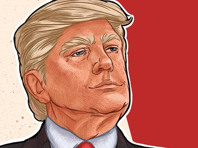 Donald J. Trump usa politics donald trump trump red man graphic drawing art face illustration portrait