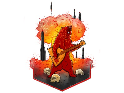 Future of Russia design putin rocket skull balalaika russia bear nuclear war graphic drawing art illustration portrait