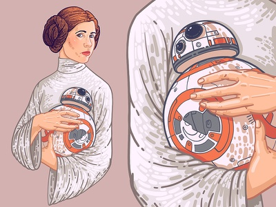 Princess Leia girl r2d2 star wars woman beauty graphic drawing art face illustration portrait princess leia