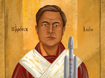 Holy prophet Elon Musk spacex man graphic drawing art face illustration portrait religion iconography ortodox icon elon musk