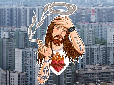 Jesus hippie icon jesus russia man graphic drawing art face illustration portrait