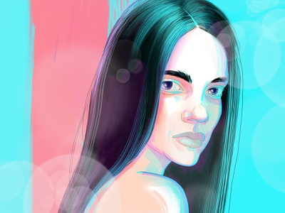 She fashion girl woman beauty graphic drawing art face illustration portrait