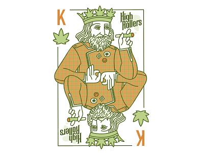 King playing card cards branding cannabis marijuana hemp label hemp graphic face drawing art portrait illustration