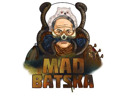 Mad Batska apocalypse steampunk mad max politics belarus lukashenko man face graphic drawing art portrait illustration