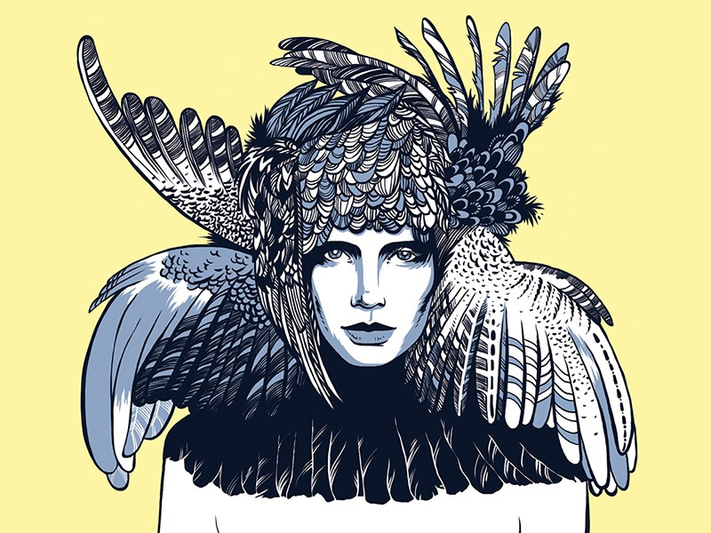 Bird blue yellow woman art bird face illustration portrait