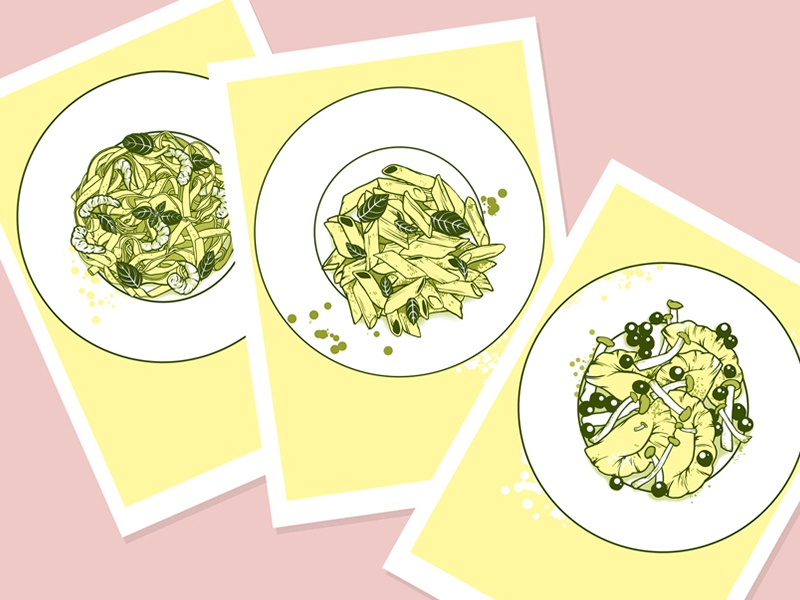 Yellow food lunch dinner mushrooms pink penne ravioli pasta yellow food