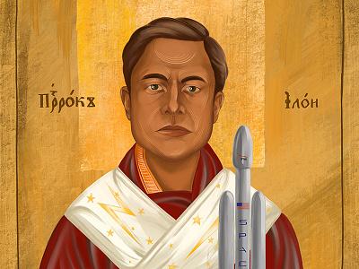 Elon is new icon tesla portrait icon falcon heavy falcon elon musk spacex