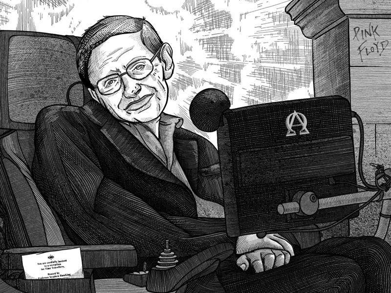 Portrait of Stephen W. Hawking black line graphic face estamp gravure hawking stephen hawking portrait