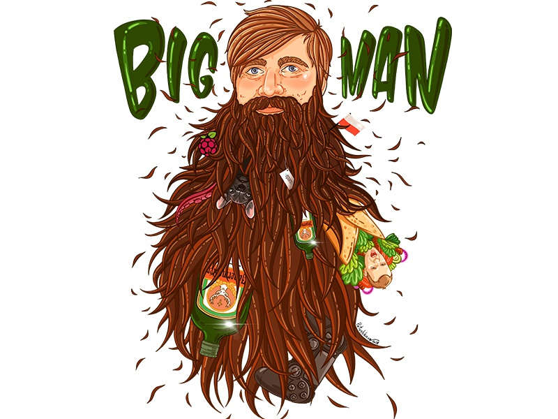 Bigman portrait hipster face dog kebab jagermeister mustache beard hunter lumber man illustration portrait
