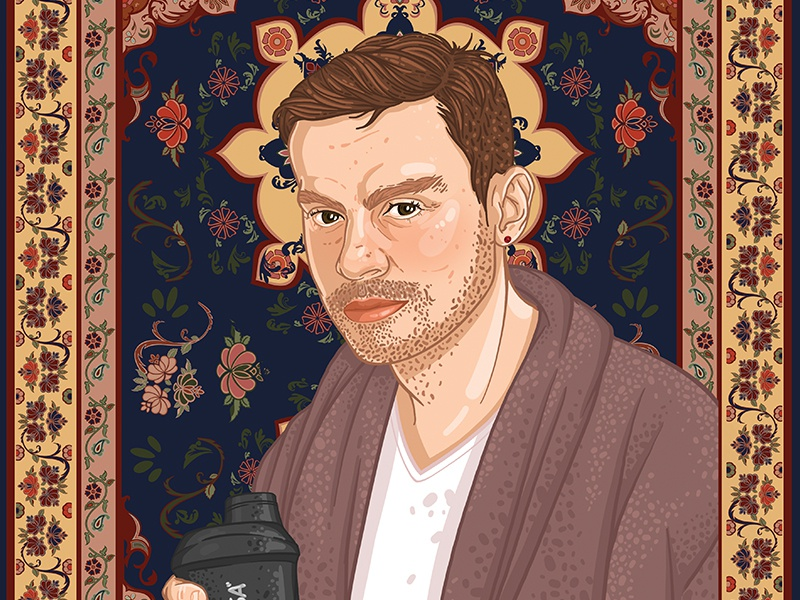 Vasili in front of a carpet illustration drawing art graphic carpet portrait the dude lebovski hipster man face portrait carpet