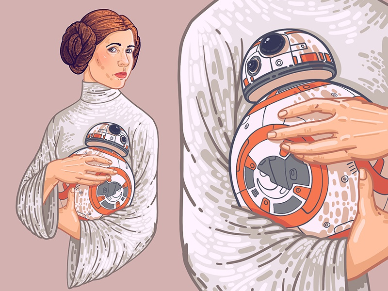 Princess Leia girl art pink princess r2-d2 r2d2 star wars princess leia vector woman graphic dribbble drawing beauty illustration face portrait