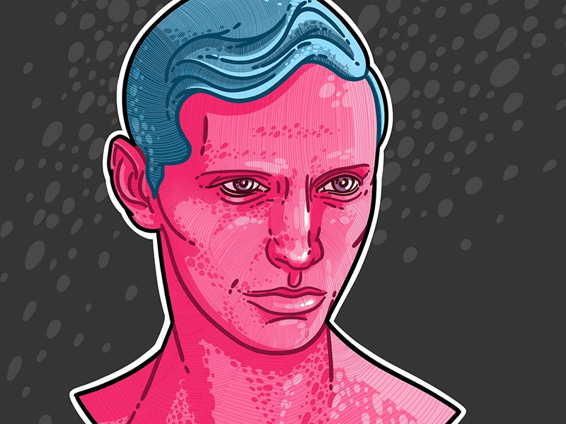 Pink Boy hipster man graphic blue beauty pink drawing art illustration face portrait