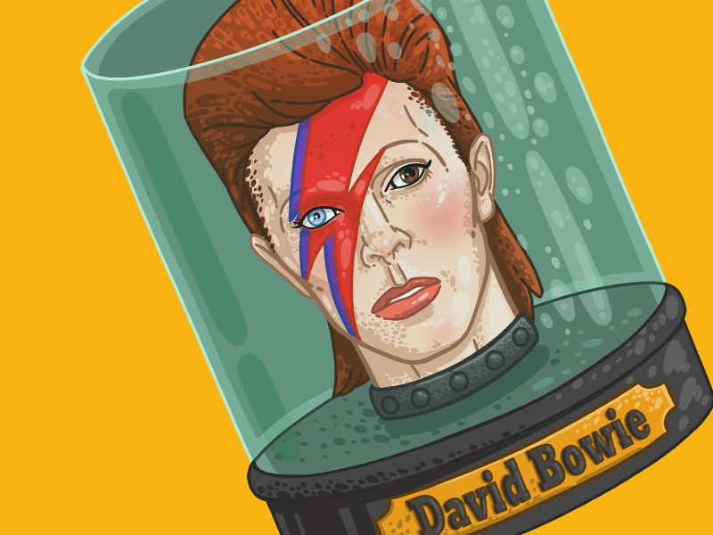 David Bowie Head in a Jar star graphic beauty future rock-n-roll rock jar flash head futurama head in a jar david bowie man drawing art illustration face portrait