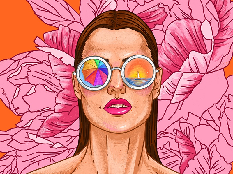Fashion portrait summer party summertime summer look moda runway flowers glamour glasses fashion girl woman pink beauty graphic drawing art illustration face portrait