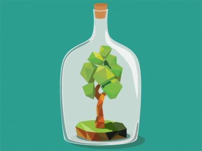 Tree forest preserve save concept wood flora vector bottle eco tree polly low