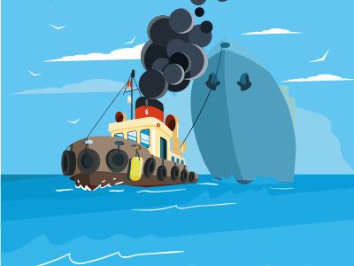 Tug Boat Vector Illustration water business ship transport transportation industry tugboat vector illustration tow tug boat