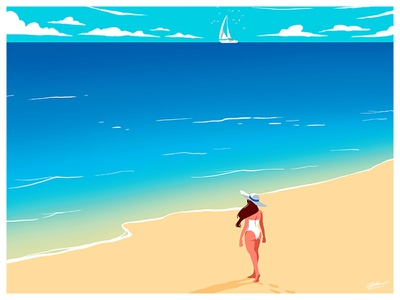 PLAYA dessin summertime girl summer sea sun playa beach art woman illustration art design illustration drawing