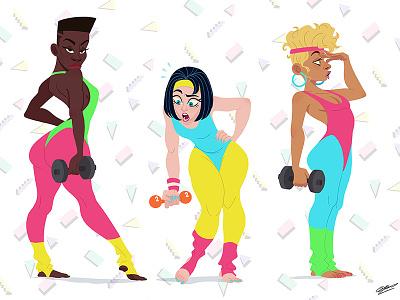 80S SPORT GIRLS dessin sport art girl fashion 80s 80s style girls illustration art character woman character design illustration drawing