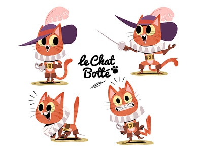 CHAT BOTTE (Puss in Boots) dessin digital illustration kids illustration puss in boots tales cat children book illustration childrens illustration childrens book animal character illustration art character design illustration drawing