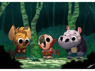 KID ANIMALS digital art insect forest hippo parrot hyena children book illustration childrens illustration childrens book kids illustration kids digital illustration animal dessin character character design illustration art animals illustration drawing