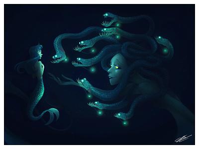 LOST MERMAID gorgon woman digital illustration abyssal abyss ocean creature fantasy fantastic medusa mermaid dessin character design illustration art character illustration drawing
