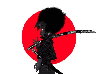 BLACK DAHLIA japan afro black woman katana samurai dessin digital illustration woman art character design illustration art character illustration drawing