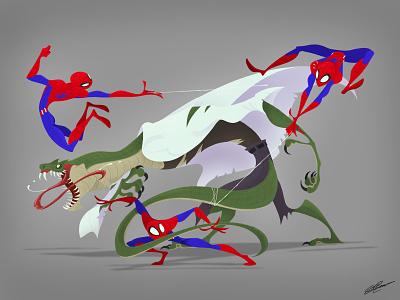 SPIDERMAN VS LIZARD character marvel studios peter parker superhero dessin illustration art lizard marvel marvelcomics fan art fanart spiderman character design illustration drawing