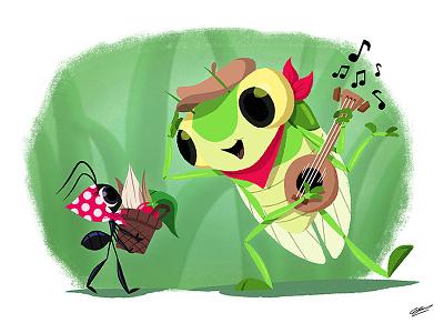 La Cigale Et La Fourmi story insect fables children art children books children book illustration children book cicada ant animals concept character drawing illustration fable