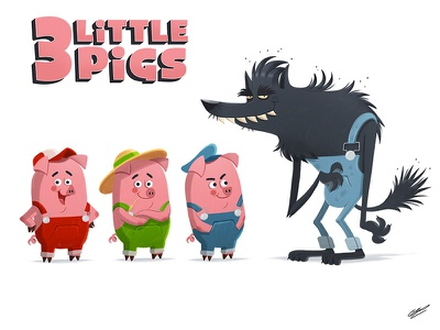 3 Little Pigs art animal children child book character drawing illustation tale wolf pigs
