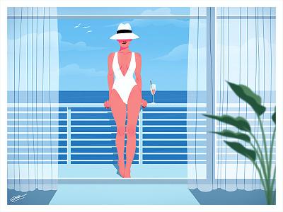 Summertime swinsuit woman woman illustration ocean beach summer fashion illustration fashion drawing illustration art illustration drawing girl illustration girl character girl fashion art fashion