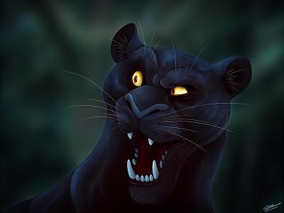 Panther feline digital digital art digital illustration animal illustration black panther character design concept design art animal animals drawing illustration character panther