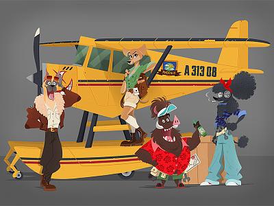 ANIMALS EXPLORER art adventure animal boxer poodle plane characters character design drawing illustration boar dog explorer animals