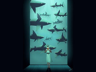 PREDATORS fish illustration art fashion design design fishtank shark girl woman art concept illustration drawing fashion illustration fashion