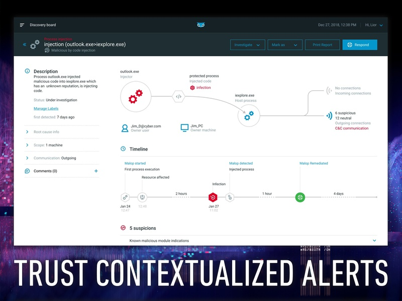 cybereason | Trust Contextual Alerts visibility connections hunt respond menu ui ux data visualization big data security cyber platform malop details infography storytelling story cyber security timeline cybereason